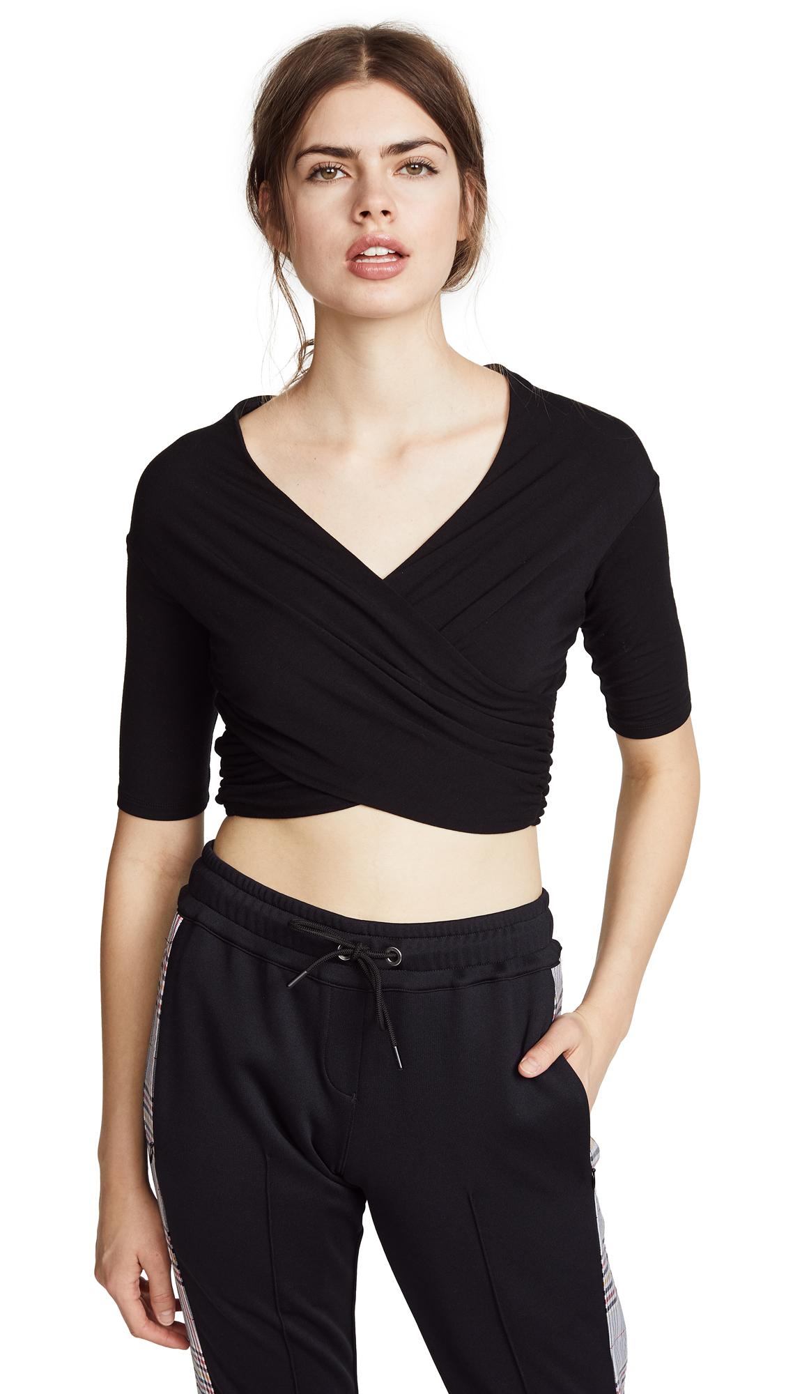 Alexanderwang.T Black Stretch Jersey Double Layer Wrap T-Shirt in 001 Black