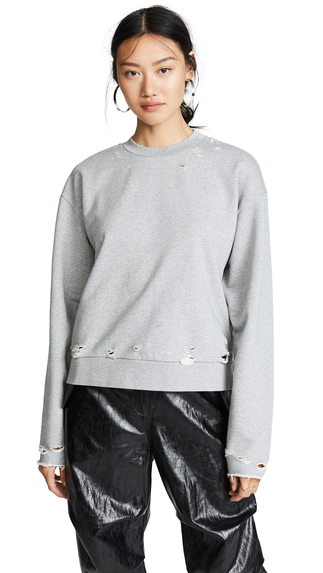 alexanderwang.t Dry French Terry Distressed Sweatshirt - Heather Grey