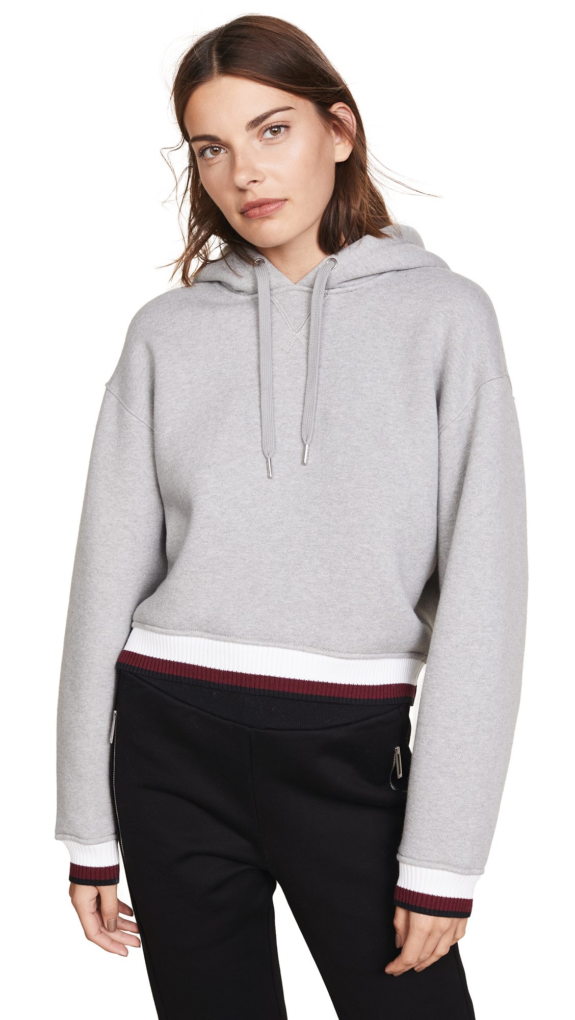 alexanderwang.t Dense Cardigan with Striped Trim - Heather Grey