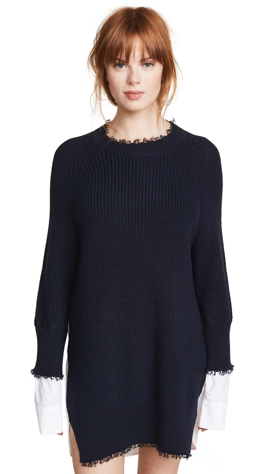 T by Alexander Wang Hybrid Varsity Sweater Dress In Navy/White