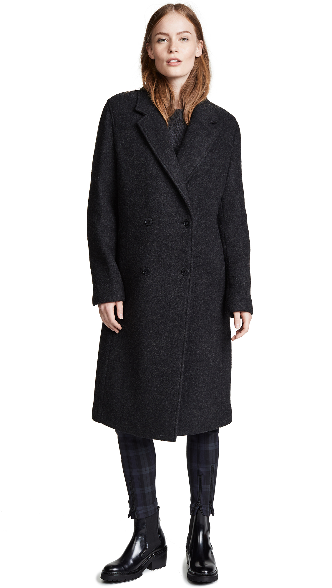 T by Alexander Wang Double Sided Card Coat In Charcoal