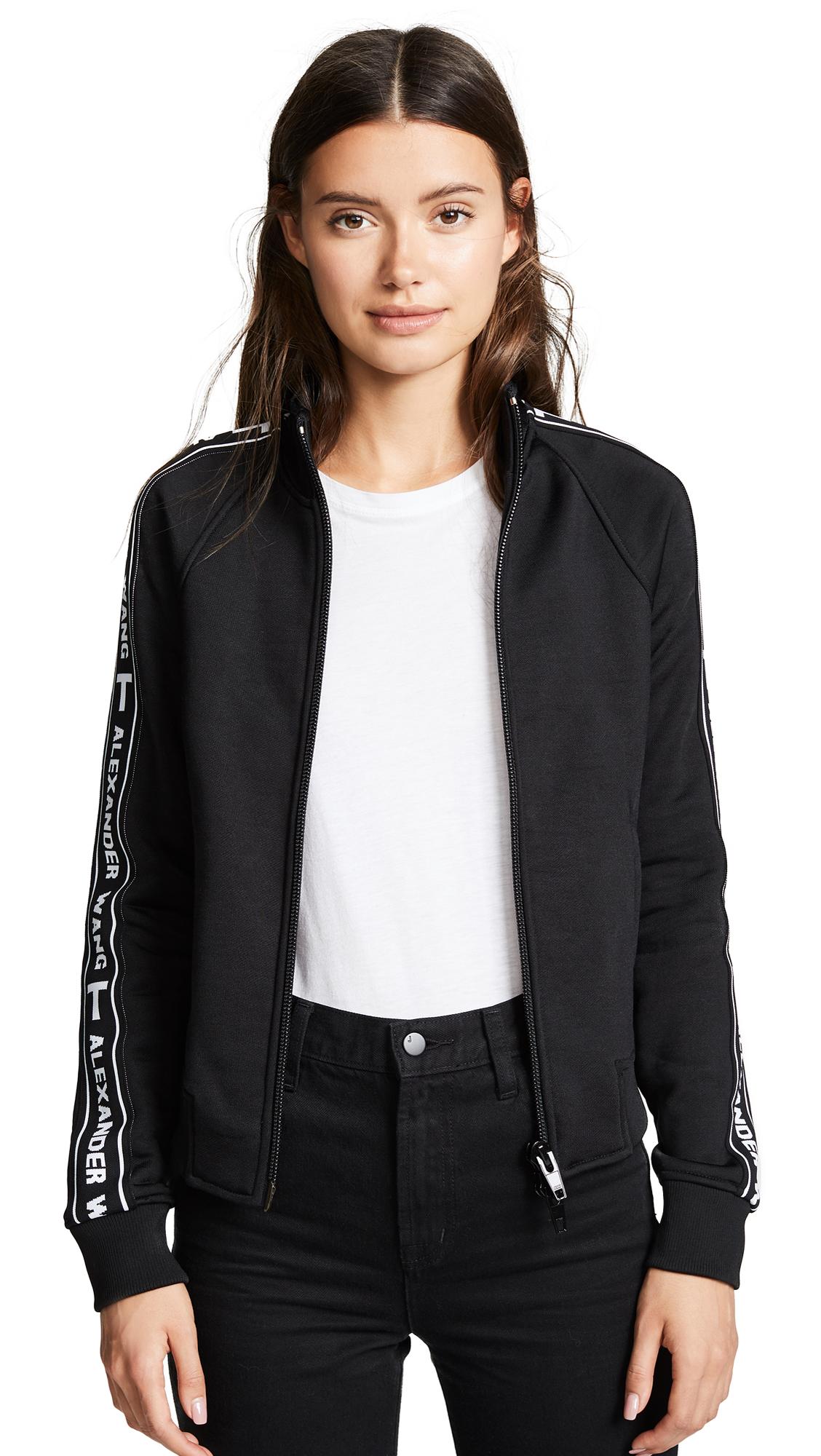 Sleek French Terry Shrunken Logo Track Jacket, Black