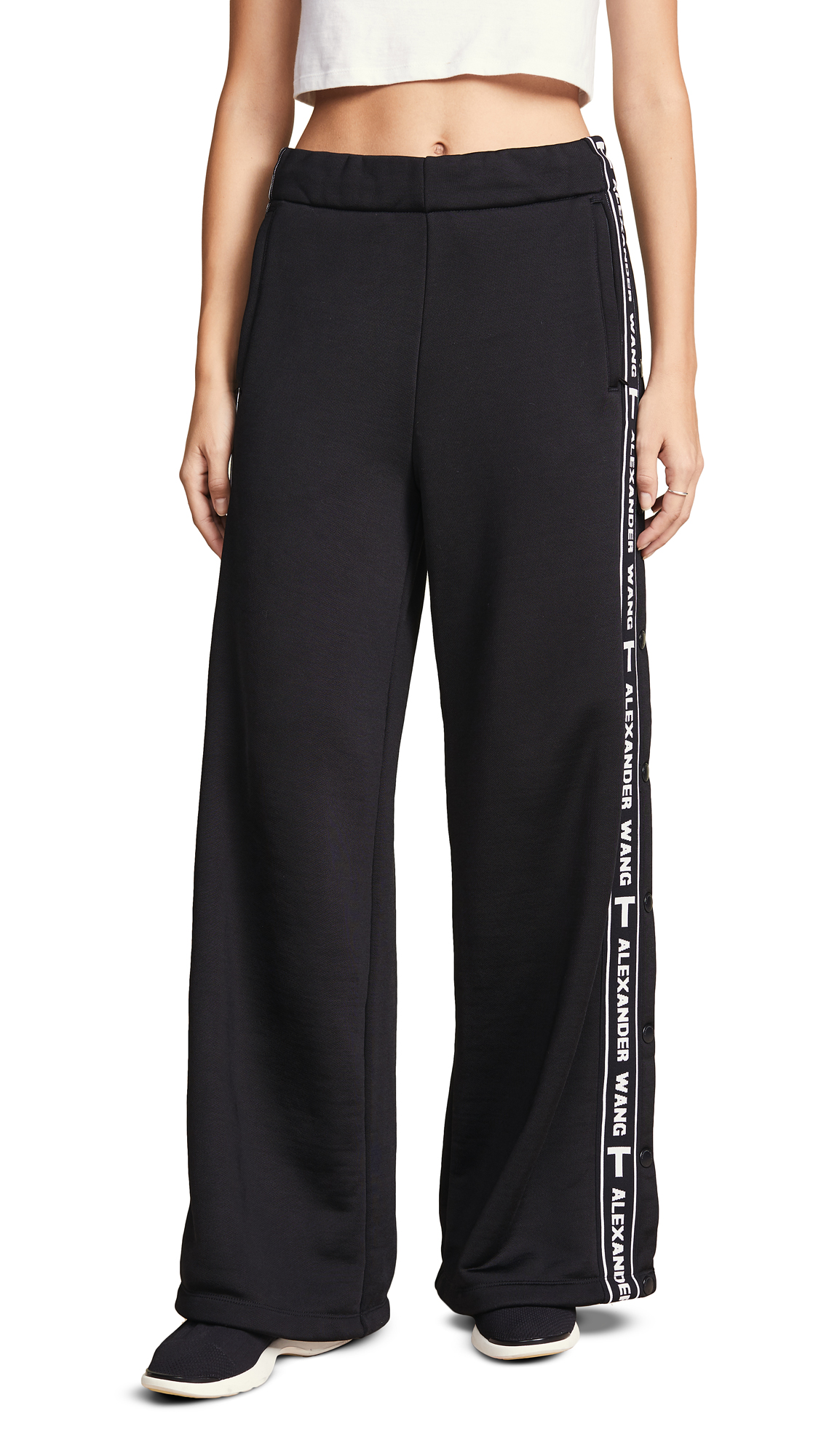 Sleek Wide-Leg Logo Snap-Up French Terry Pants in Black