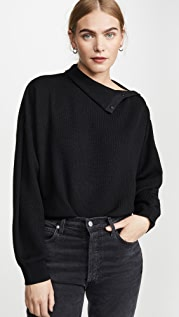 alexanderwang.t Snap Hybrid Cropped Turtleneck Pullover