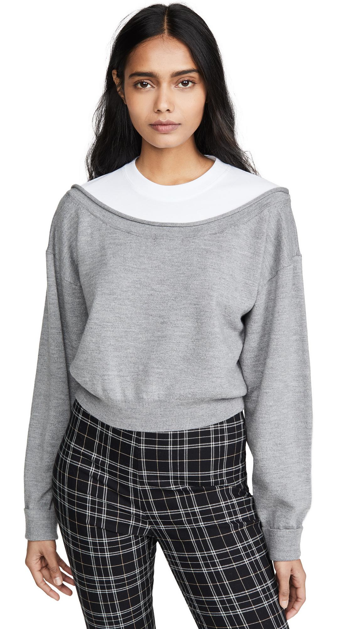 Photo of alexanderwang.t Peelaway Bi-Layer Cropped Pullover - shop alexanderwang.t Clothing, Shirts, Tops online