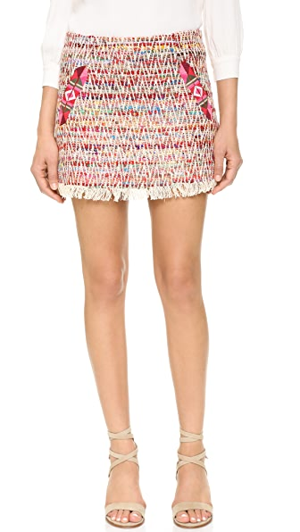 Twelfth St. By Cynthia Vincent Fringe Zigzag Skirt - Multicolor
