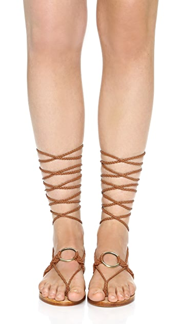 Ulla Johnson Javi Lace Up Flat Sandals