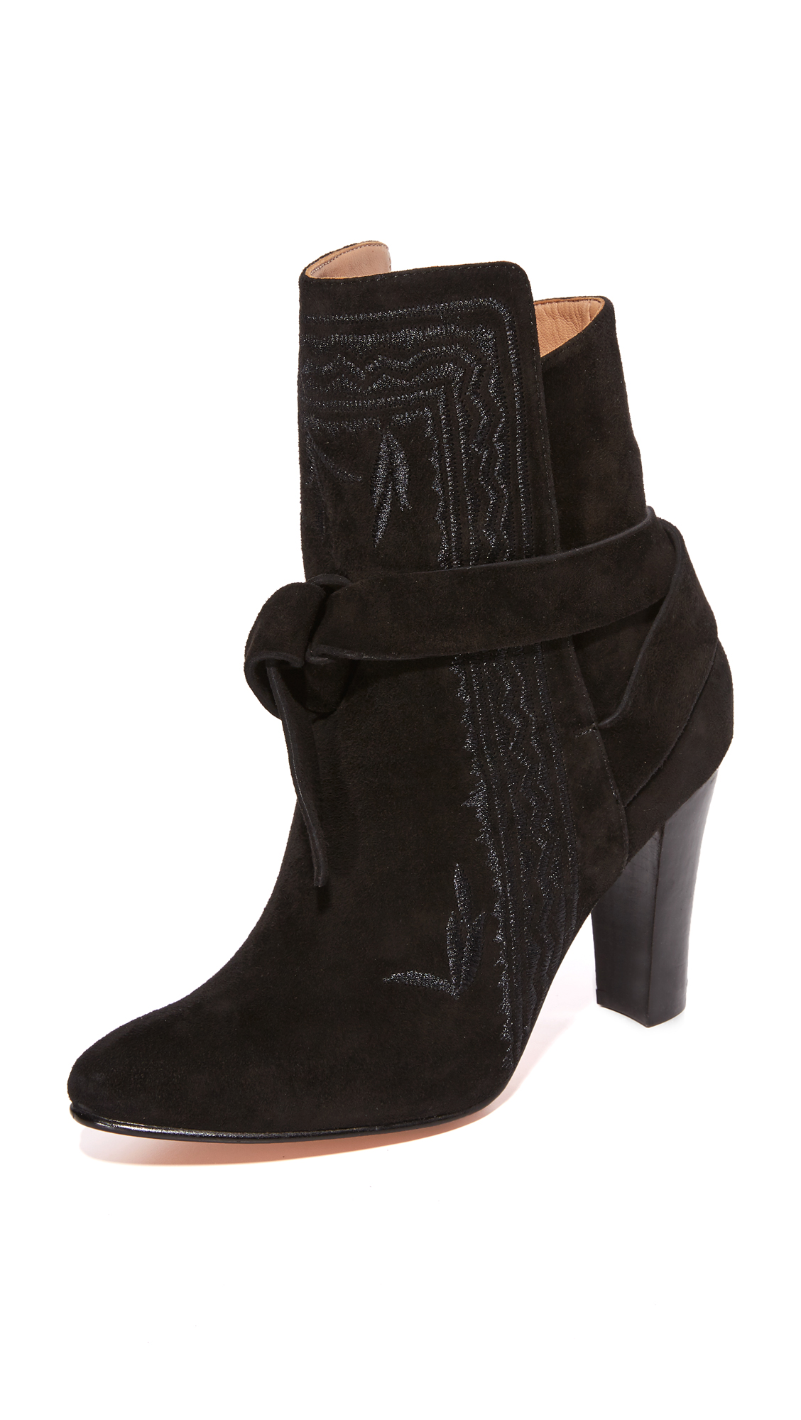 Ulla Johnson Aggie Embroidered Tie Booties - Jet