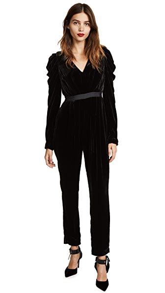 Ulla Johnson Sabine Velvet Jumpsuit In Noir