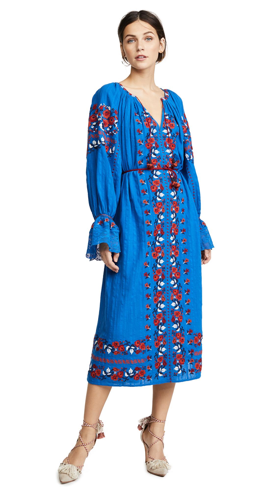 ULLA JOHNSON Filia Embroidered Cotton-Gauze Midi Dress, Cobalt