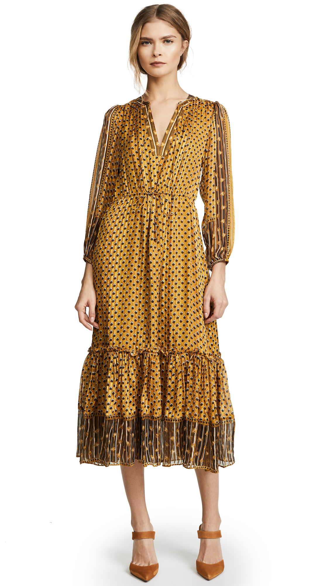 Amabelle Printed Silk-jacquard Midi Dress - Yellow Ulla Johnson WqsjCc