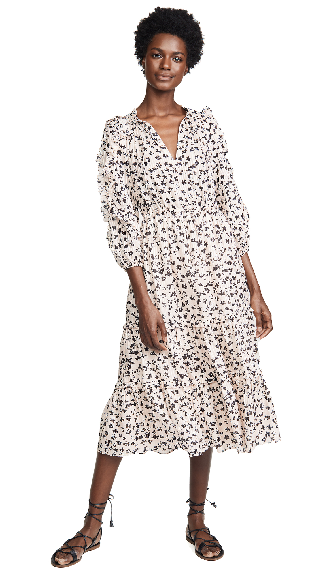 Fantine Ruffled Printed Cotton And Silk-Blend Gauze Midi Dress, Blush