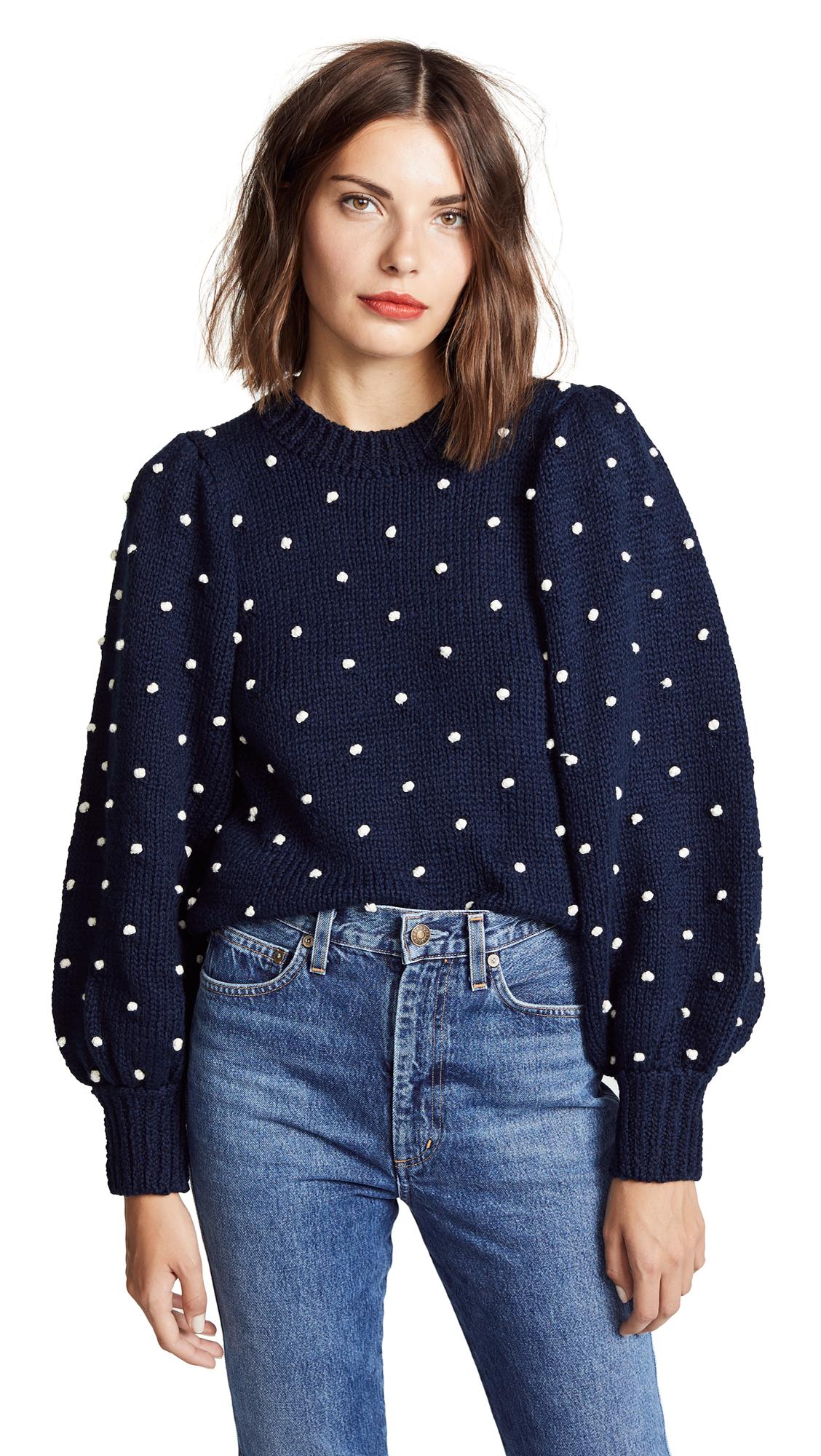 ULLA JOHNSON Adelen Polka Dot Cotton Sweater - Navy Size M in Blue