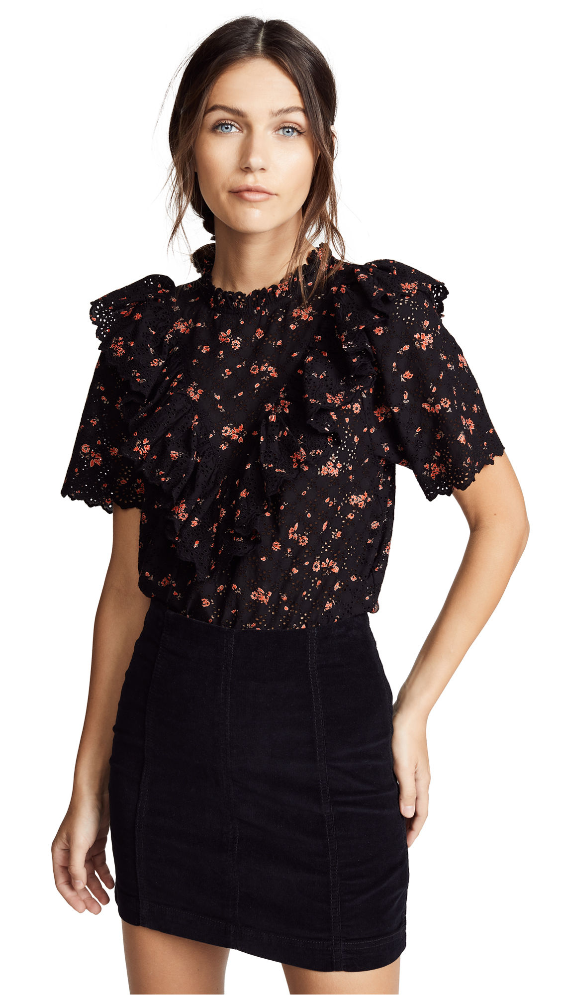 Ulla Johnson Choux Top In Noir Floral