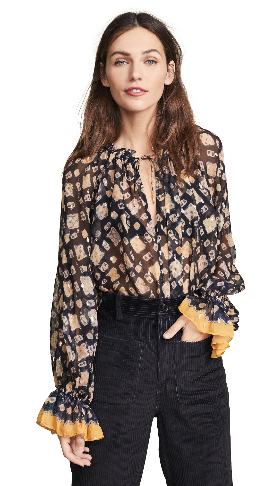 Ulla Johnson Nailah Blouse In Midnight