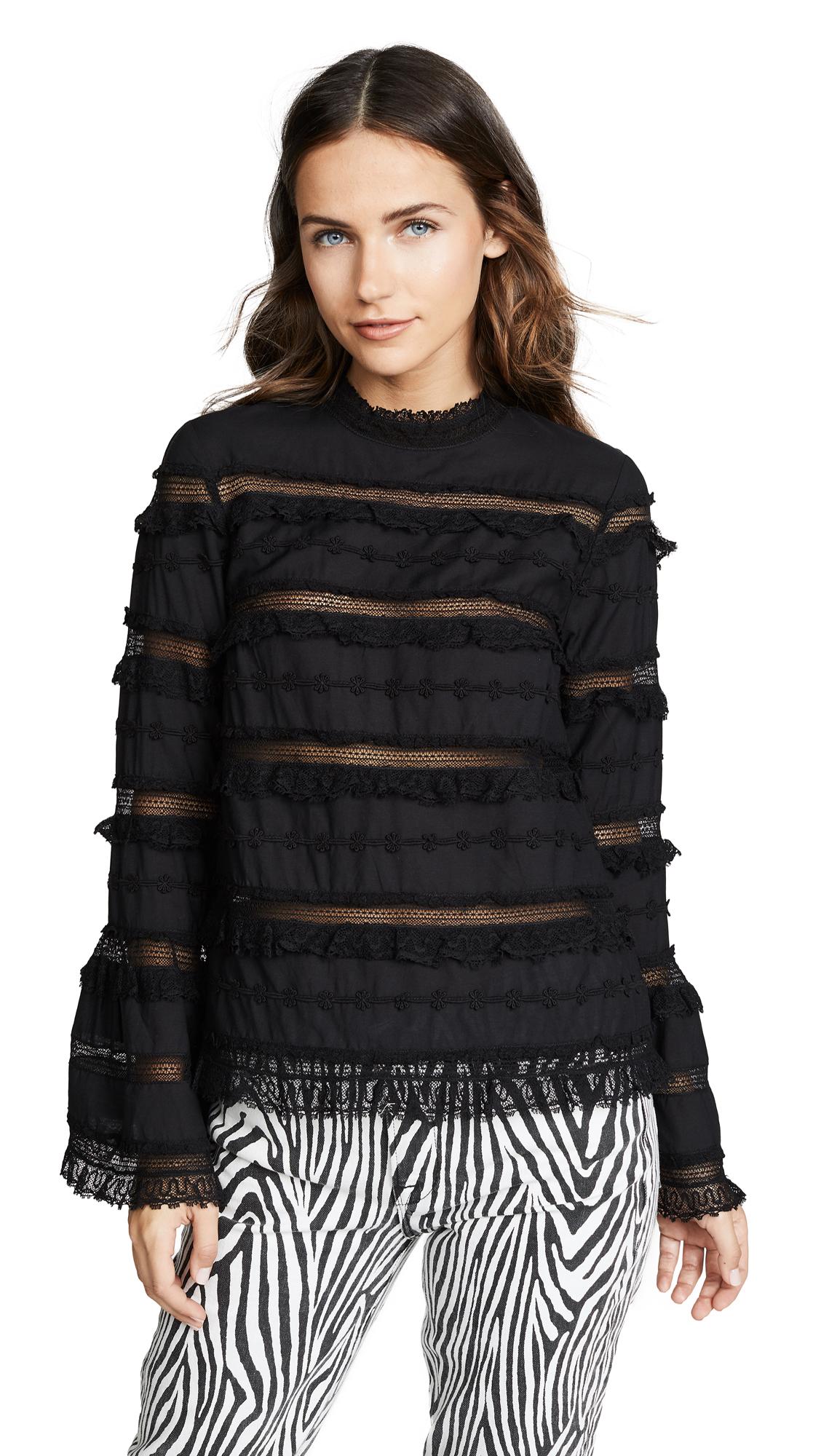 Grace Embellished Cotton-Blend Blouse - Black Size 2