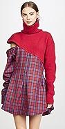 Unravel Project Hybrid Sweater Zip Plaid Dress