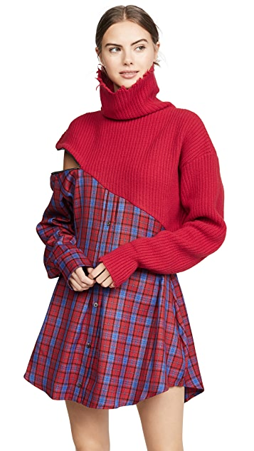 Unravel Project Hybrid Sweater Zip Plaid Dress