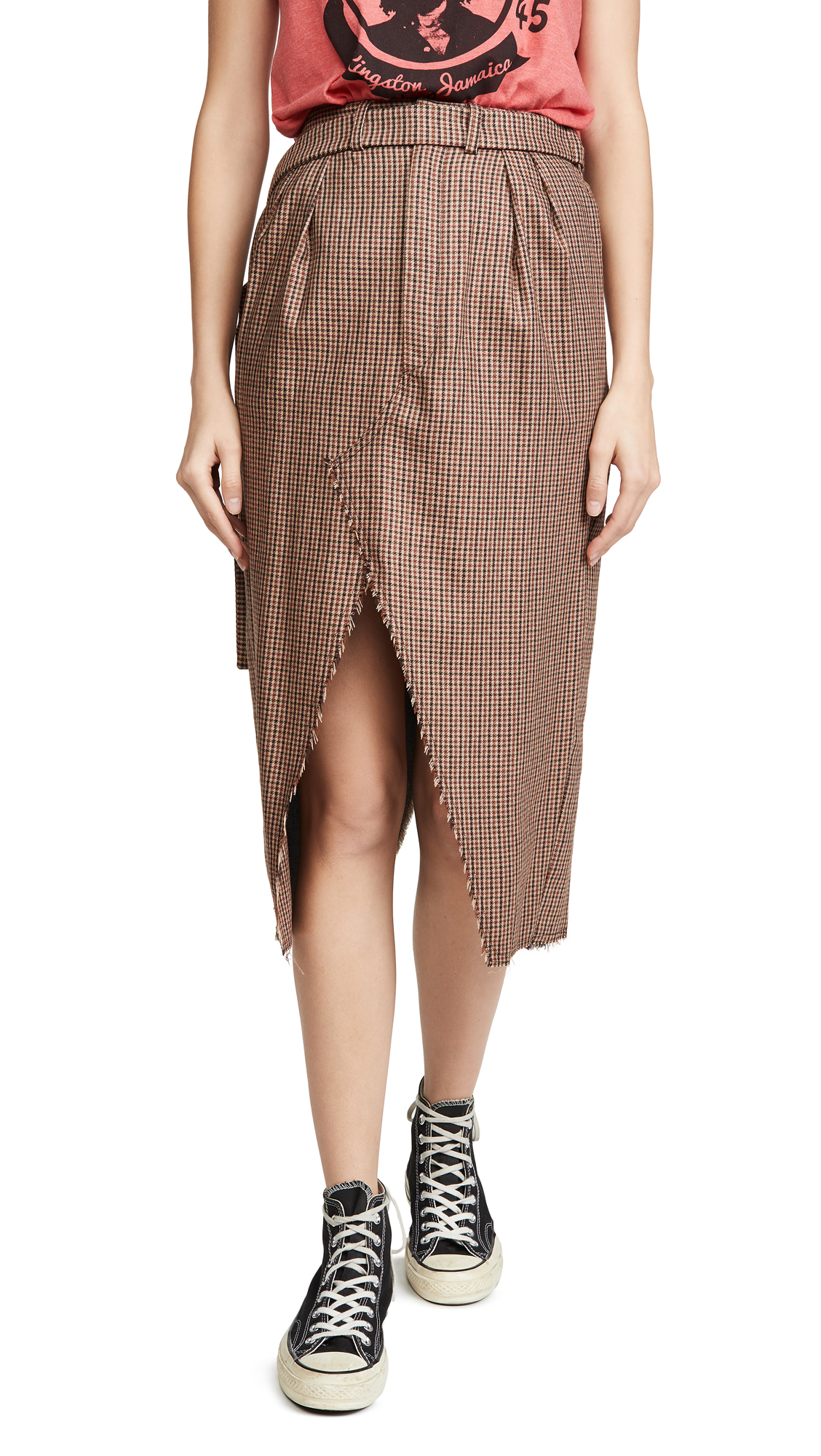 Buy Unravel Project online - photo of Unravel Project Plaid Wrap Skirt