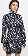 Unravel Project Zebra Turtleneck Sweater Dress