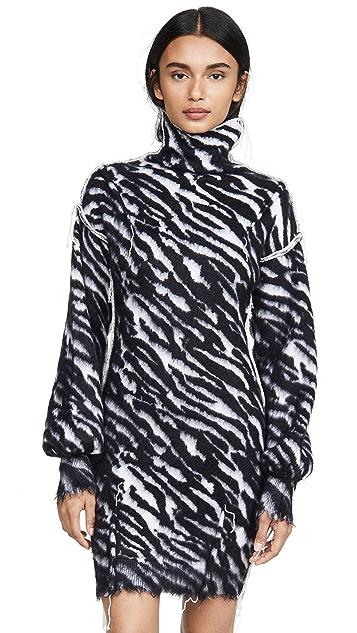 Unravel Project Zebra Turtleneck Sweater Dress