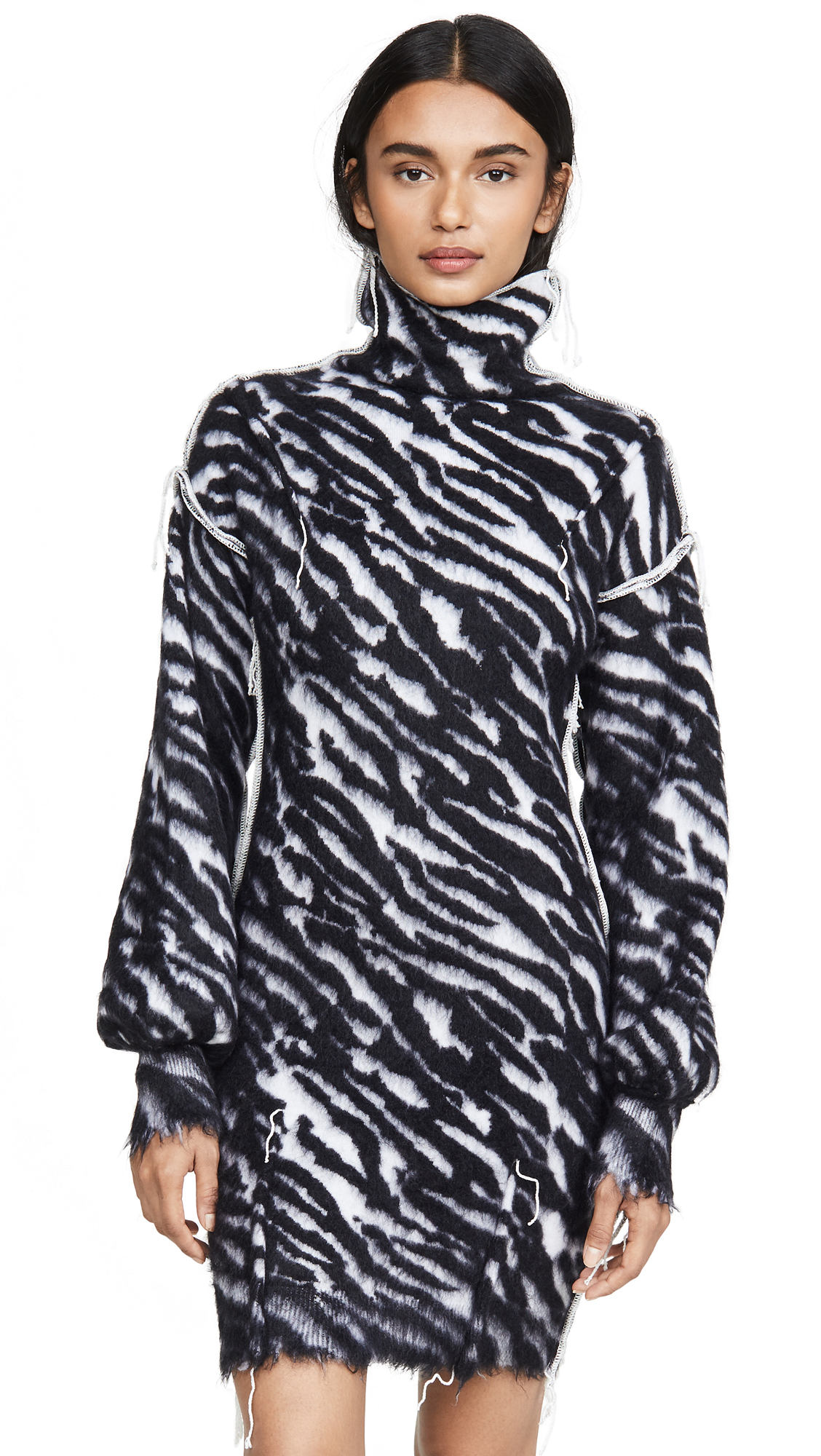 Buy Unravel Project online - photo of Unravel Project Zebra Turtleneck Sweater Dress