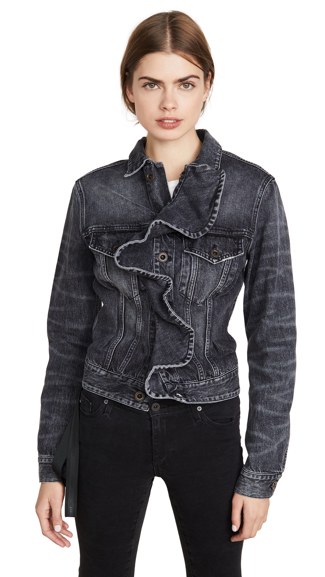 Buy Unravel Project online - photo of Unravel Project Vintage Spray Denim Ruffle Jacket
