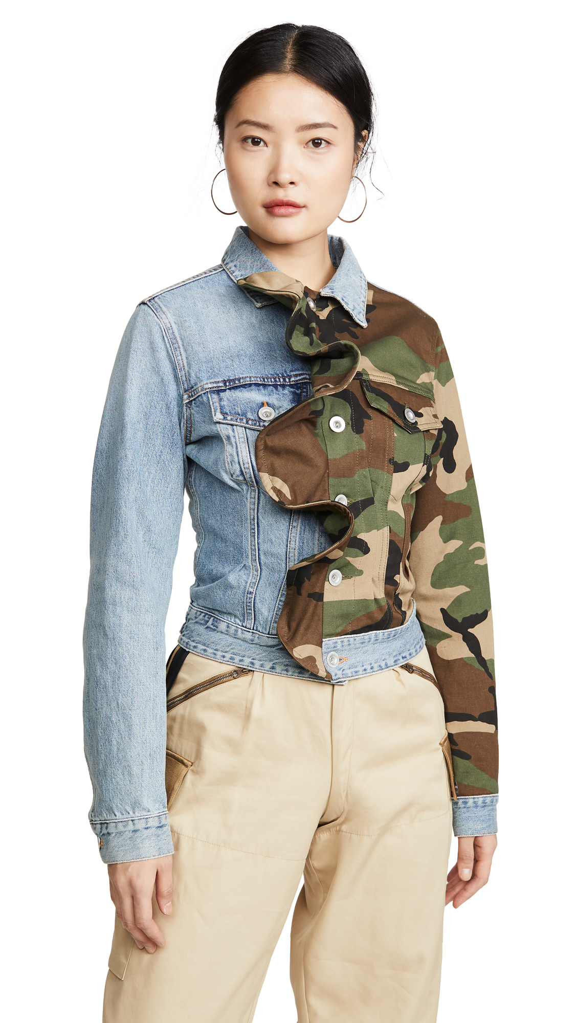 Buy Unravel Project online - photo of Unravel Project Hybrid Denim Ruffle Jacket