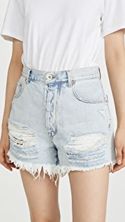 Unravel Project Light Blue Distressed Denim Shorts