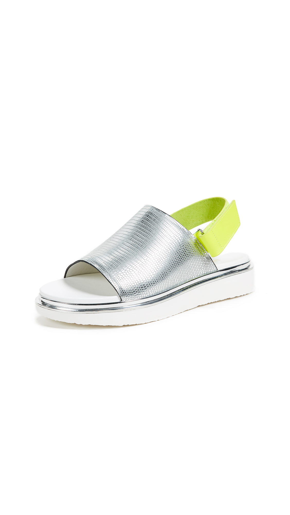 United Nude Terra Sandals - Silver/Neon Lime