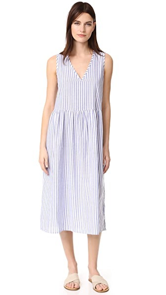Vale Air Long Dress - White Thin Blue Stripe
