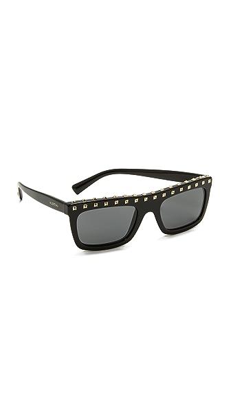 Valentino Soul Rockstud Sunglasses - Black Gold/Grey