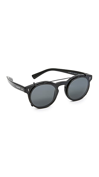 Valentino Rockstud Rivet Browbar Sunglasses - Black/Grey