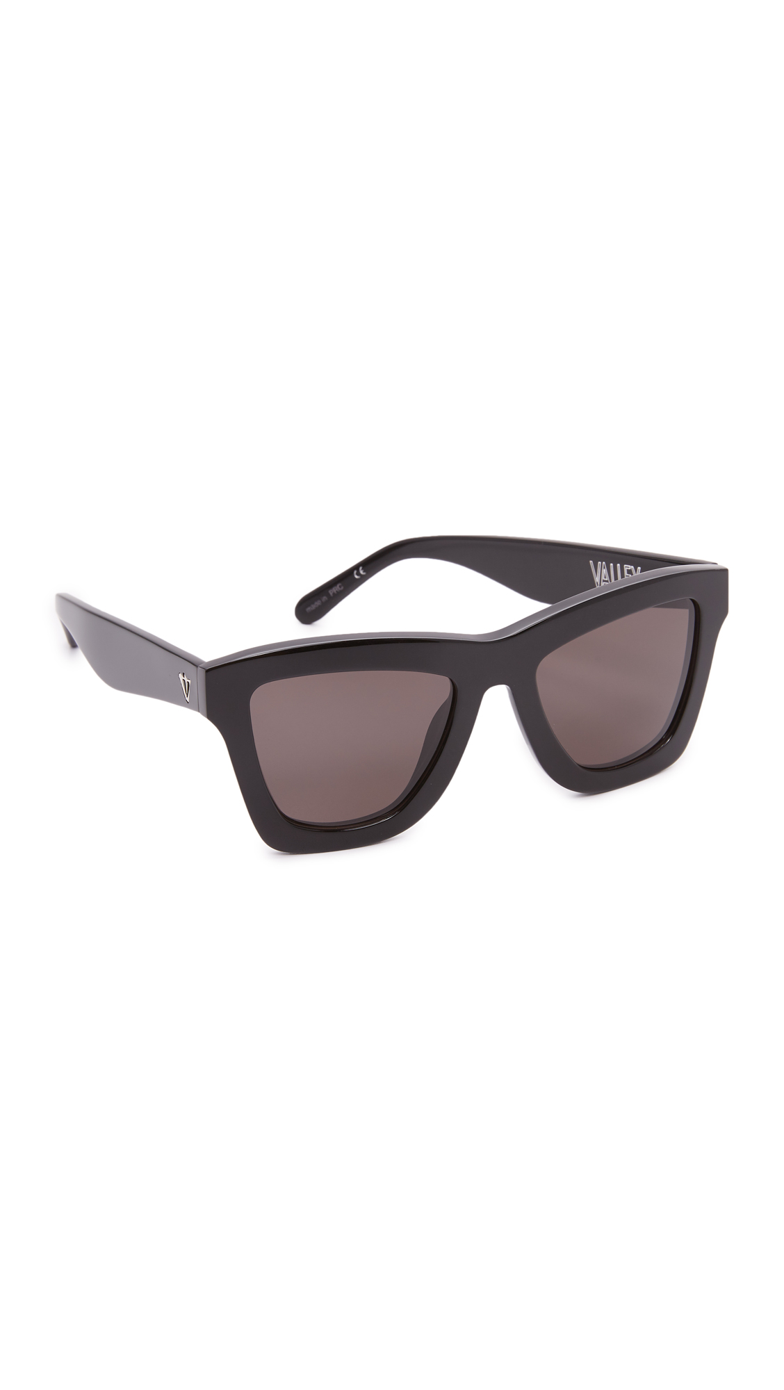 Thick, glossy frames give these Valley Eyewear sunglasses a strong, substantial look. Hard case and pouch included. Square frame. Non polarized lenses. Imported, China. Measurements Width: 5.5in / 14cm Height: 2.25in / 5.5cm Lens Width: 50mm. Available sizes: