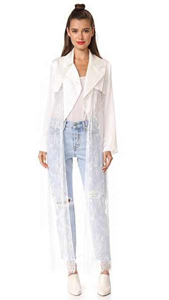 Vatanika Satin & Lace Duster - White