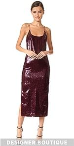High Zip Slit Sequin Slip Dress Vatanika