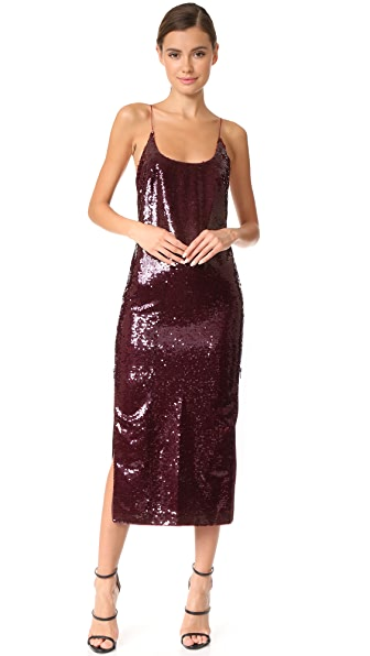 Vatanika High Zip Slit Sequin Slip Dress - Burgundy