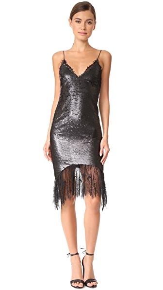 Vatanika Lace Trimmed Sequin Slip Dress