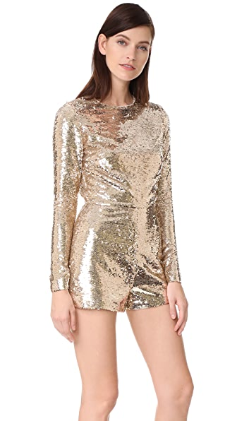 Vatanika Sequin Romper In Gold