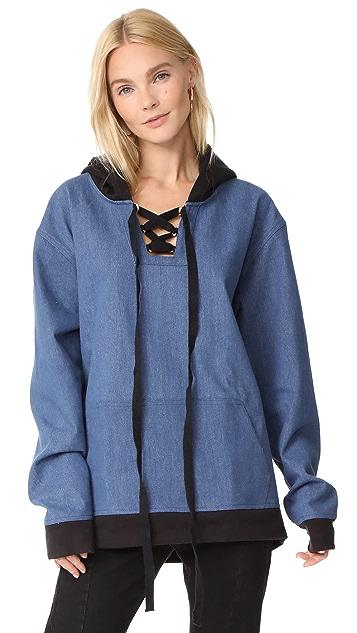 Vatanika Cotton Blended Denim Oversized Hooded Top
