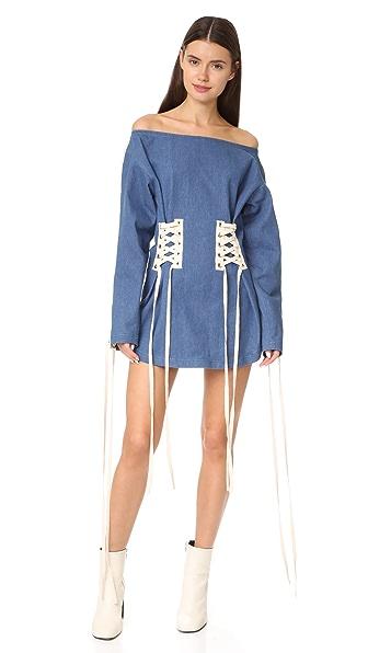 Vatanika Denim Off Shoulder Lace Up Dress - Denim