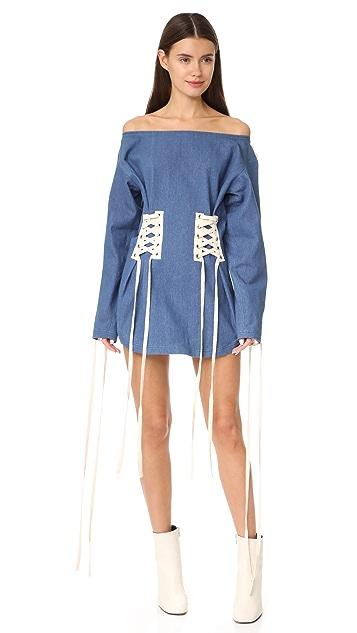 Vatanika Denim Off Shoulder Corset Dress