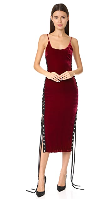 Vatanika Velvet Laceup Midi Dress