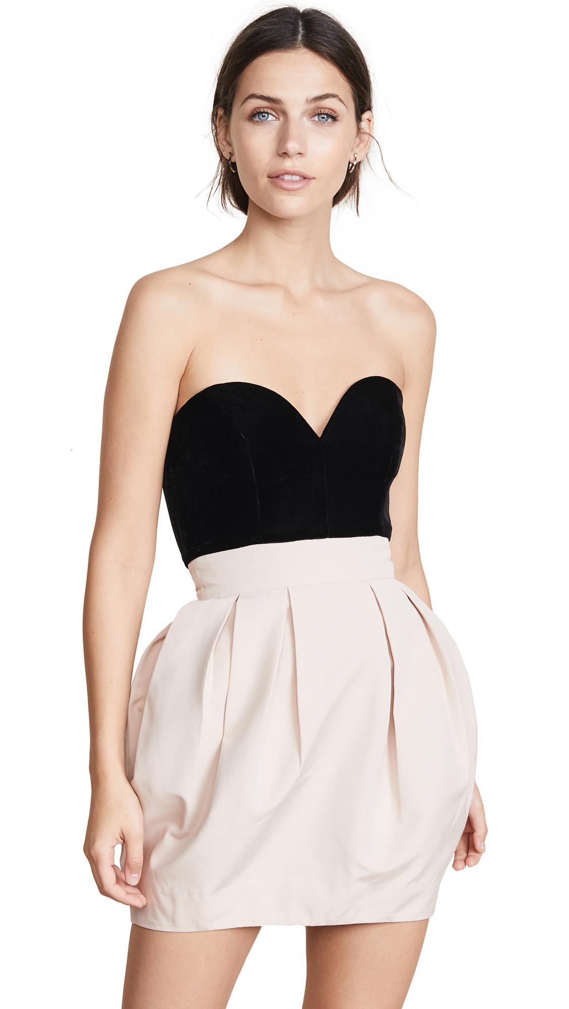 VATANIKA Strapless Bustier Dress in Black/Pink