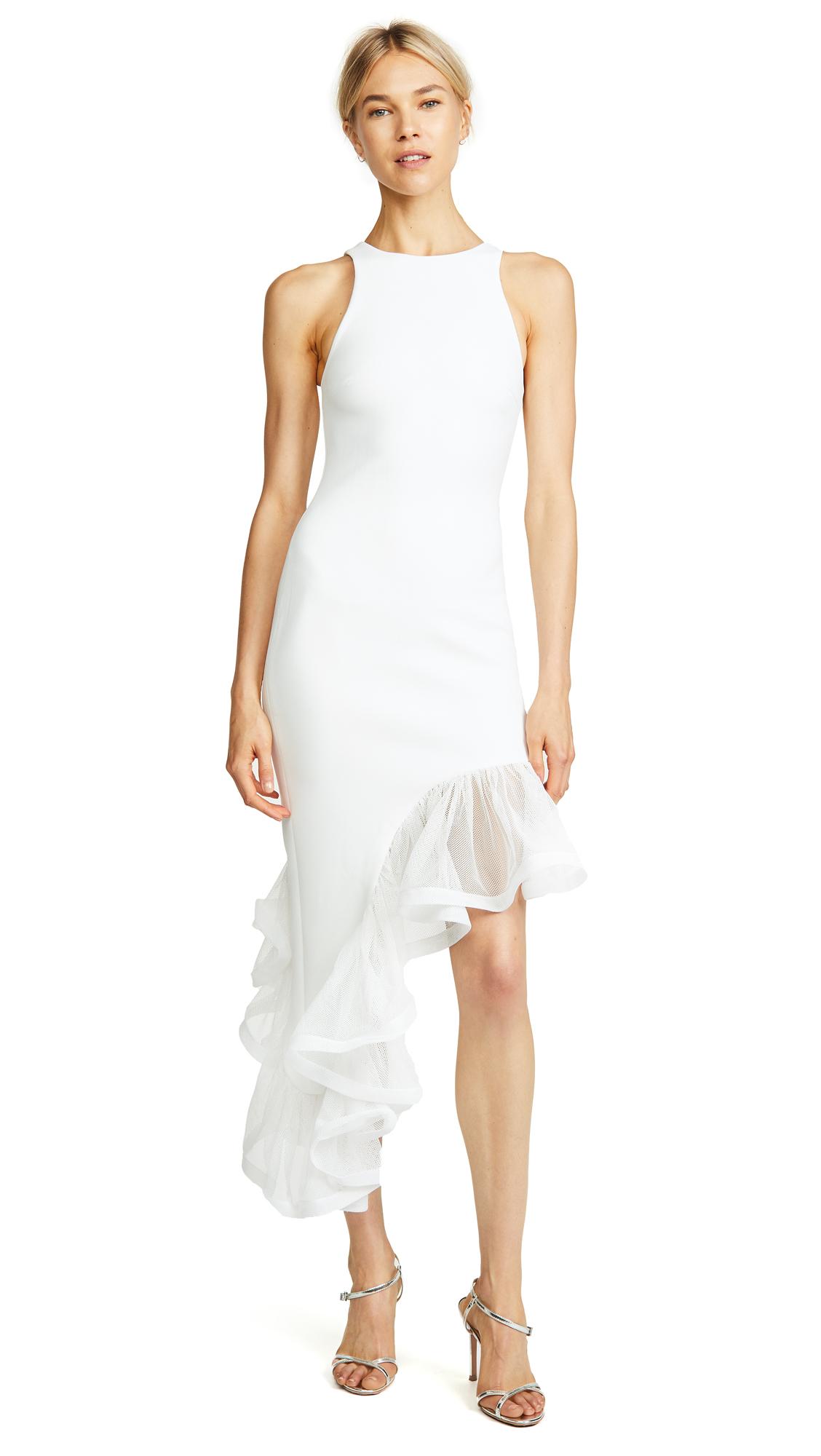 VATANIKA Ruffle Hem Asymmetrical Dress in White