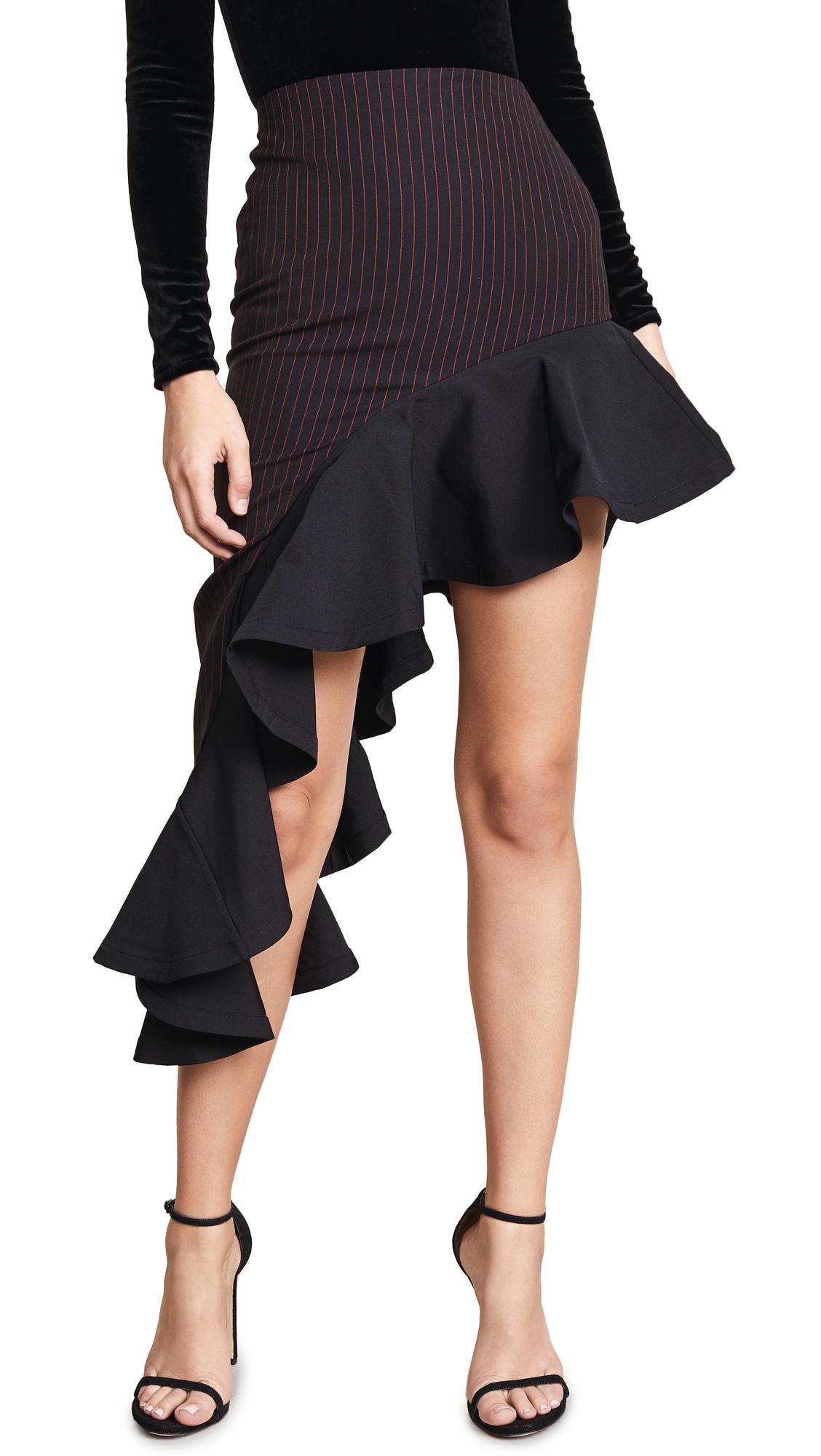 VATANIKA Asymmetrical Ruffle Hem Skirt in Black