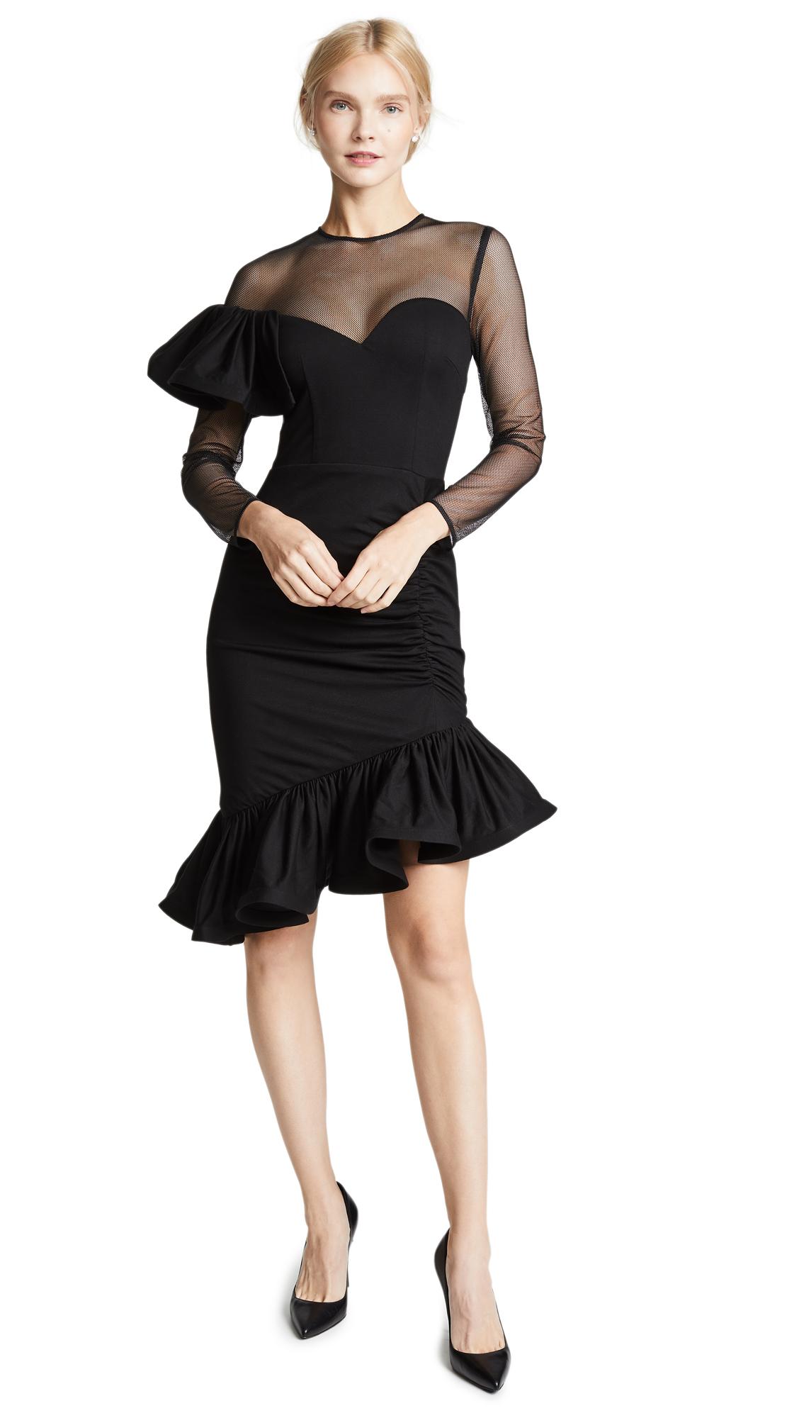 VATANIKA Mesh Ruffle Draped Dress in Black