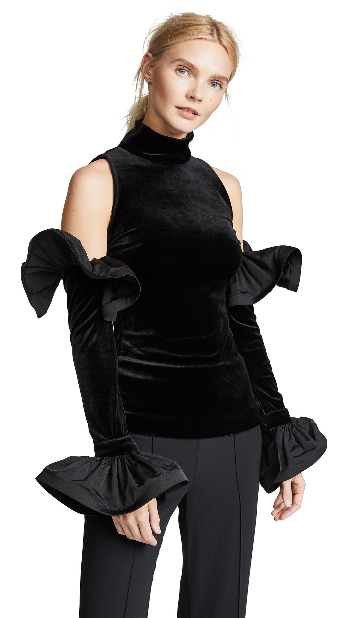 Vatanika Ruffled Velvet Top - Black
