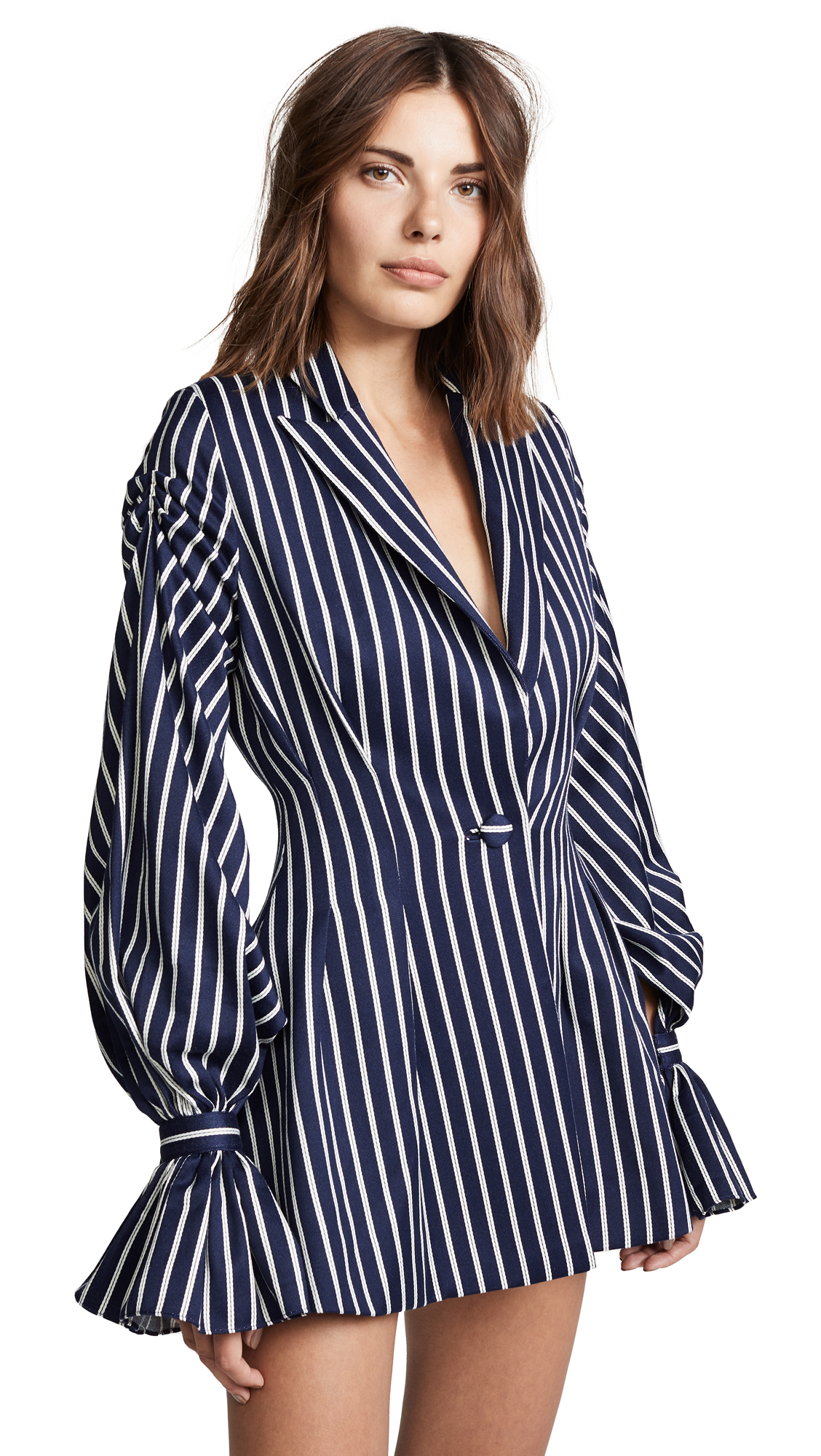 VATANIKA Pinstripe Ruffle Blazer Dress in Navy/White