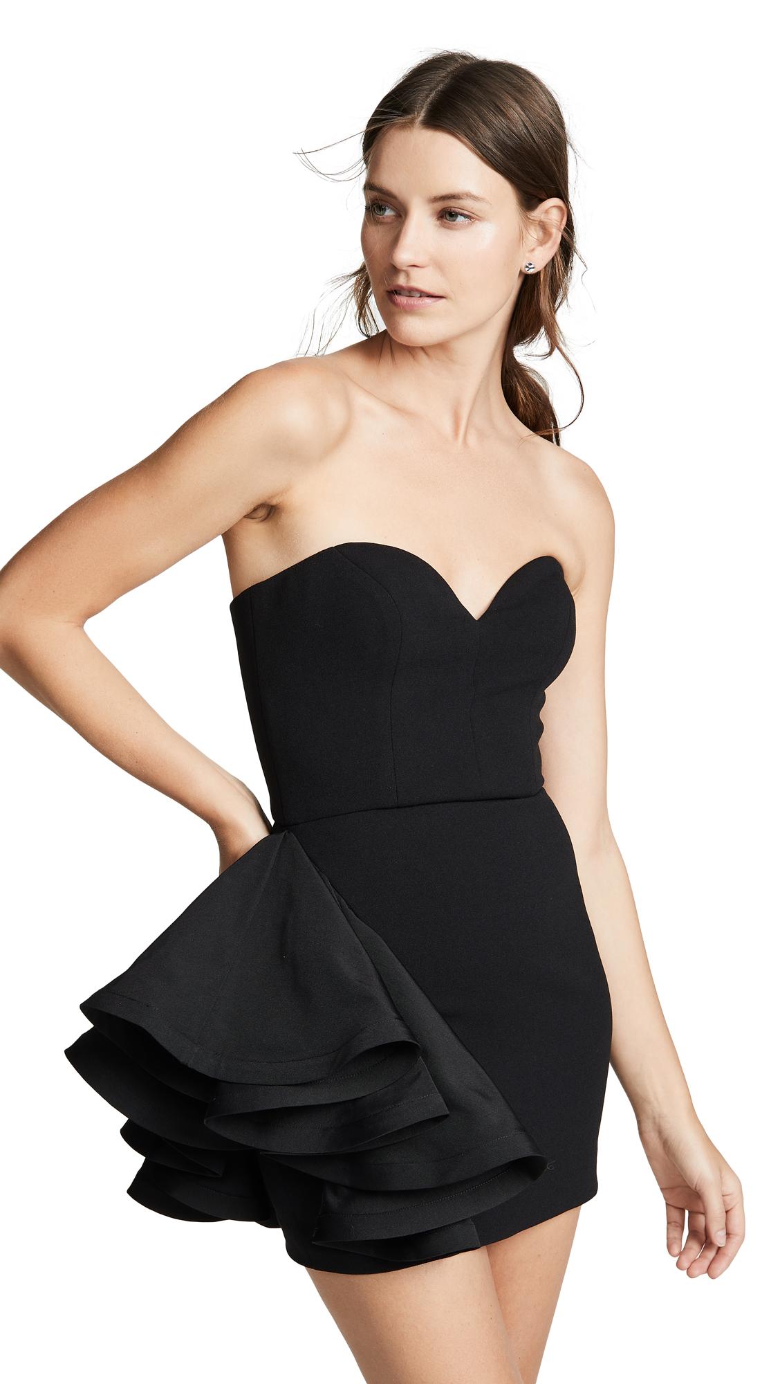 VATANIKA Ruffle Mini Dress in Black